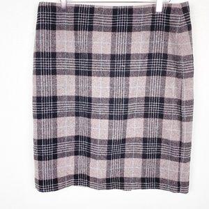 TALBOTS gray black plaid wool SKIRT size 16